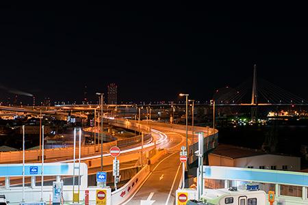 朝潮橋PAの夜景