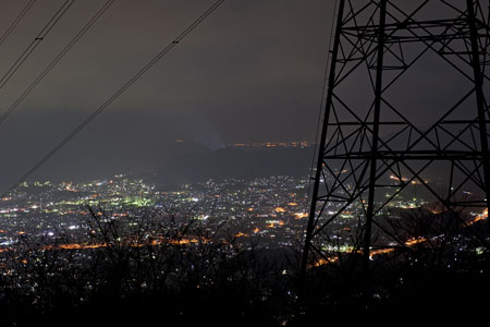 馬瀬林道 顕彰碑の夜景