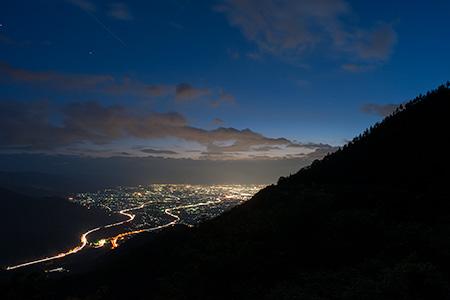 菱山深沢林道の夜景