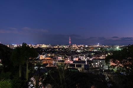 伊勢山公園 江の島が見える見晴台の夜景