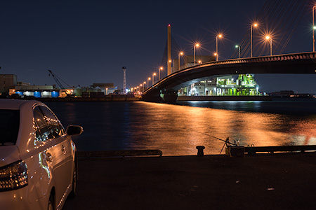 かもめ大橋駐車場の夜景