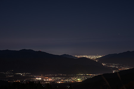 経ヶ岳登山口展望台の夜景