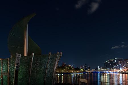中之島公園 噴水・展望デッキの夜景