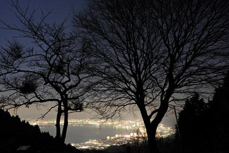 四明嶽手前駐車場 比叡山ドライブウエイの夜景