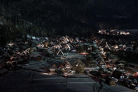 白川郷 天守閣の夜景
