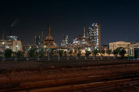 末広町駅貨物ヤード前の夜景