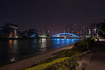 隅田川テラス 隅田川大橋近くの夜景