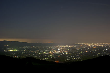 高清水林道 展望広場の夜景