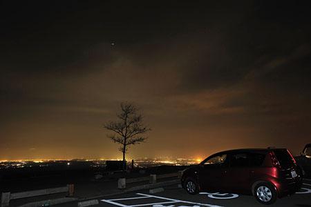 俵山バイパス 西原駐車場の夜景