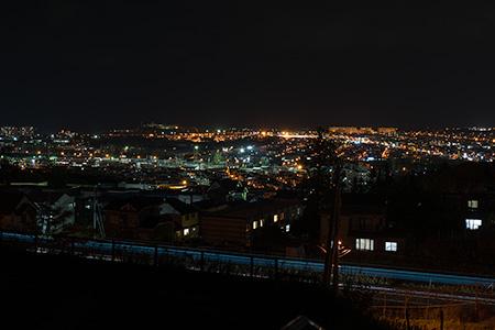 北海道札幌稲雲高等学校階段の夜景