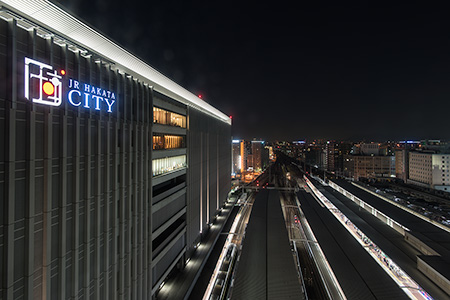 JR博多シティ 展望ラウンジ トレインビュースポットの夜景