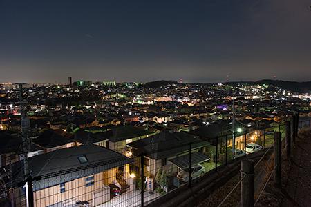鶴川台 尾根緑地(東側)の夜景