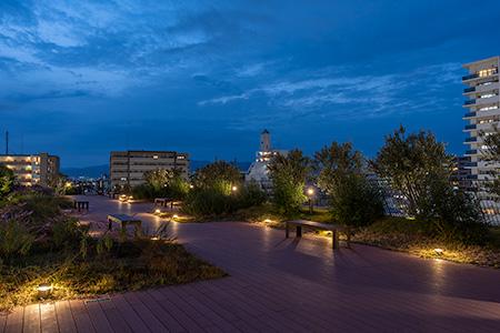 ビエラ塚口 屋上庭園の夜景