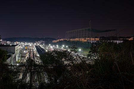 京王電鉄 若葉台車両基地の夜景