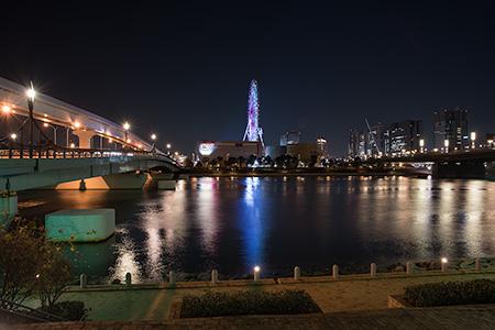 水の広場公園 東京ベイコート倶楽部前の夜景