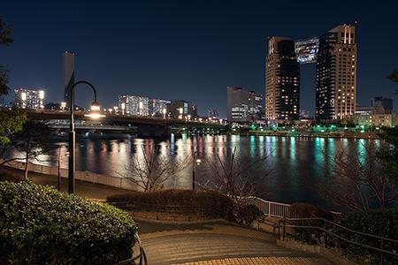 水の広場公園 中央地区の夜景